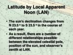 latitude by local apparent noon lan12
