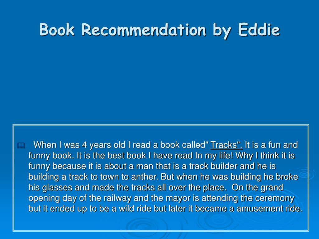 book recommendation by eddie l.