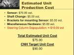 estimated unit production cost