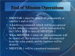 end of mission operations