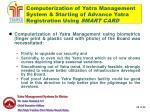 computerization of yatra management system starting of advance yatra registration using smart card