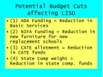potential budget cuts affecting lisd