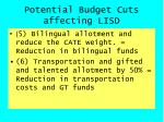 potential budget cuts affecting lisd4