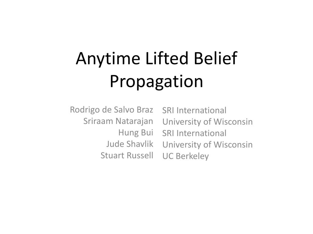 anytime lifted belief propagation l.