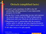 orrisch simplified facts