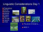 linguistic considerations day 1