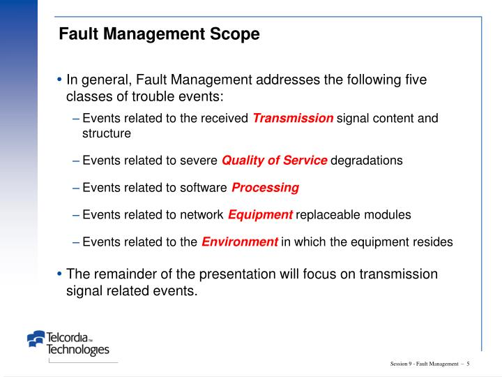 Fault Management Scope