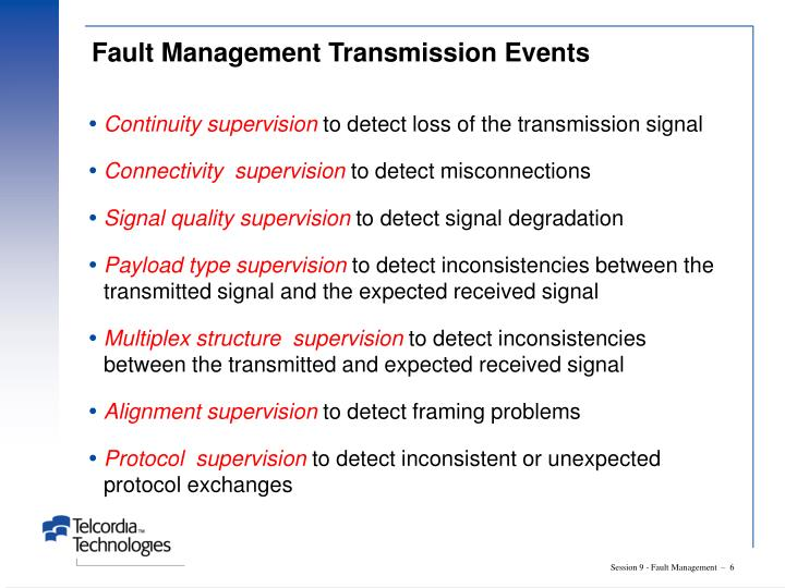 Fault Management Transmission Events