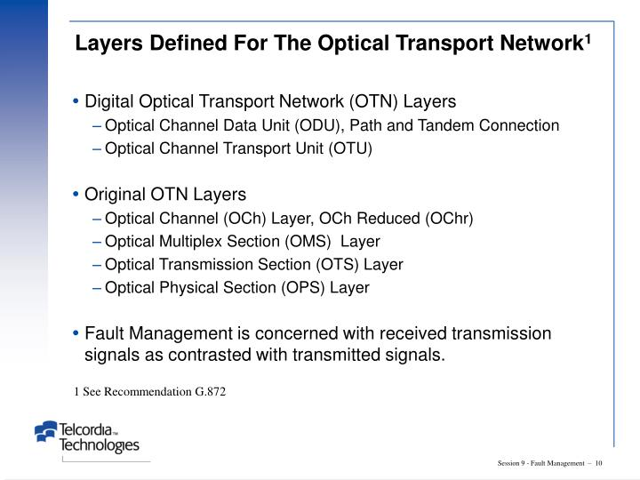 Layers Defined For The Optical Transport Network