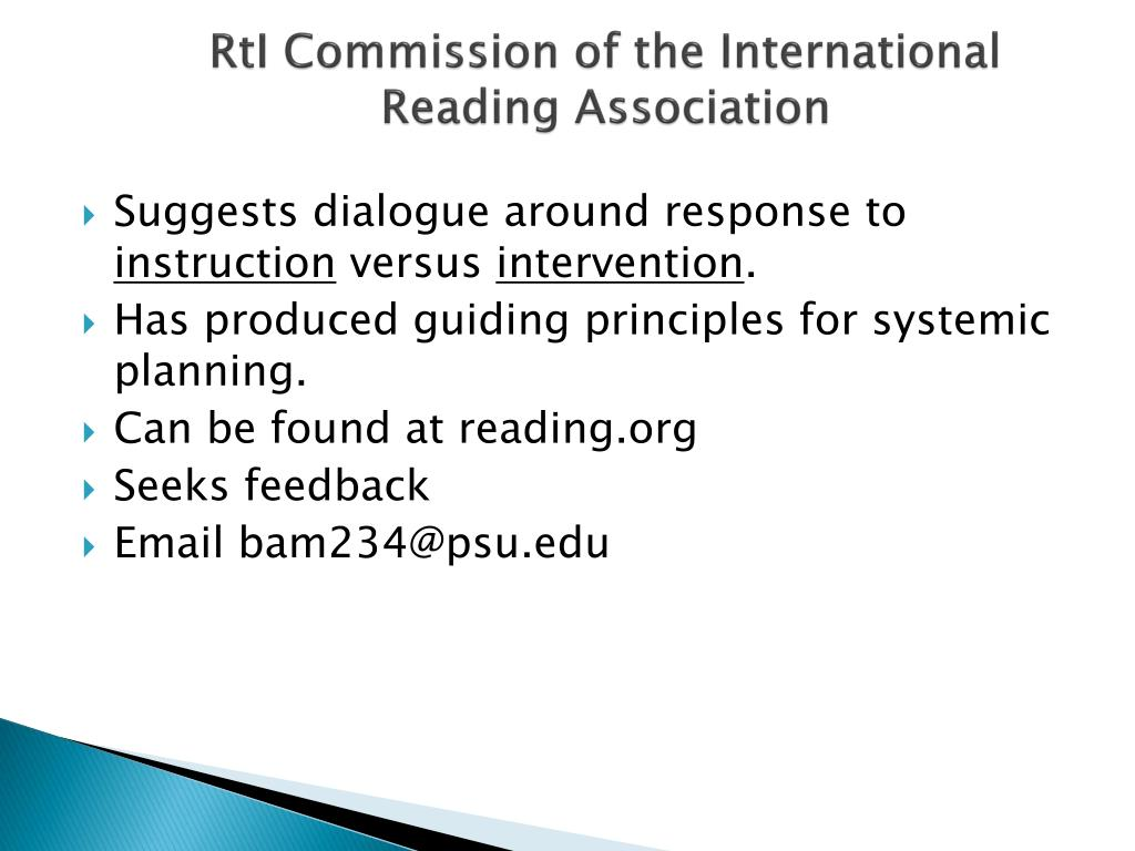 RtI Commission of the International Reading Association
