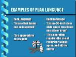 examples of plan language