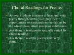 choral readings for poems