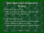 individual and collaborative writing