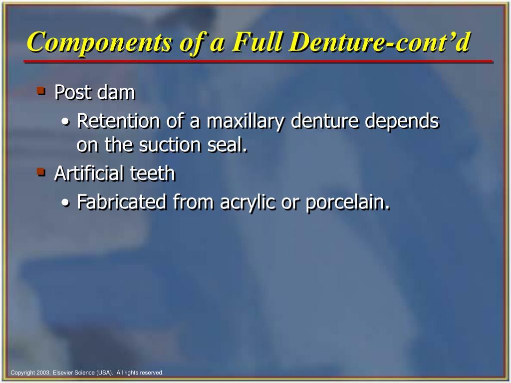 Components of a Full Denture-cont'd