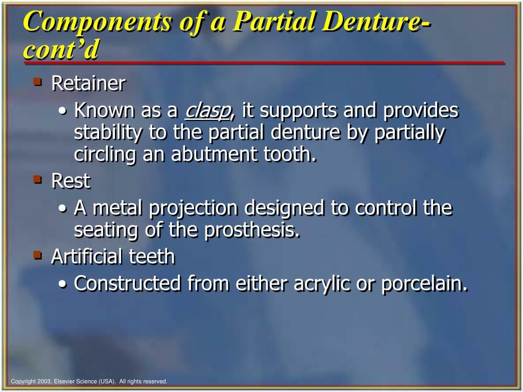 Components of a Partial Denture-cont'd