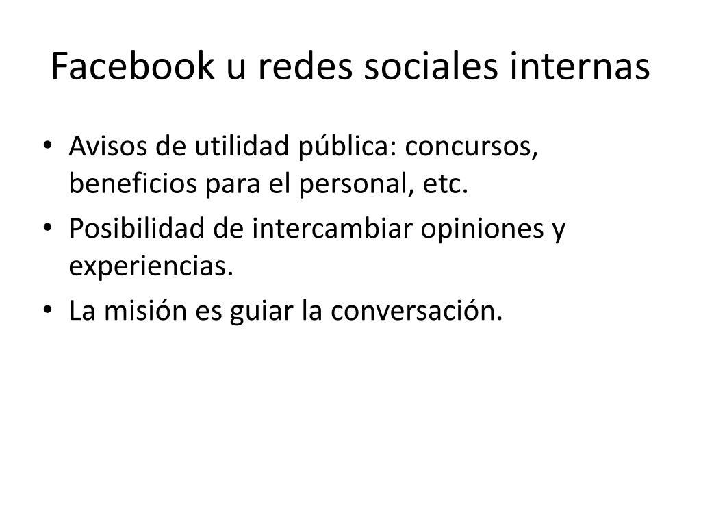 Facebook u redes sociales internas