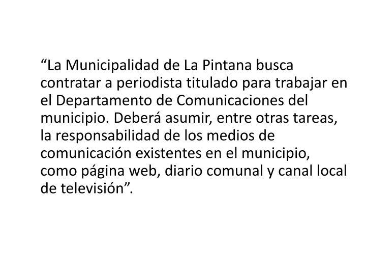 """""""La Municipalidad de La"""