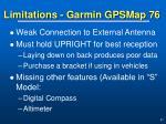 limitations garmin gpsmap 76
