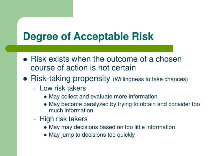 Degree of Acceptable Risk