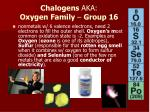 chalogens aka oxygen family group 16