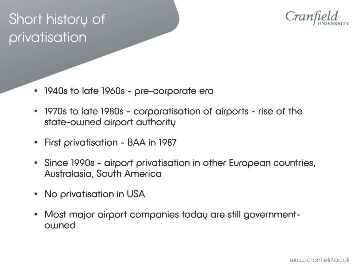 Short history of privatisation