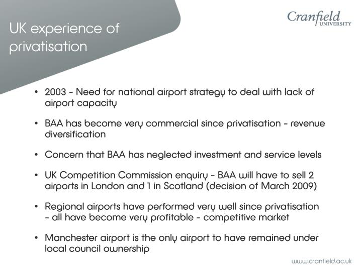 UK experience of privatisation