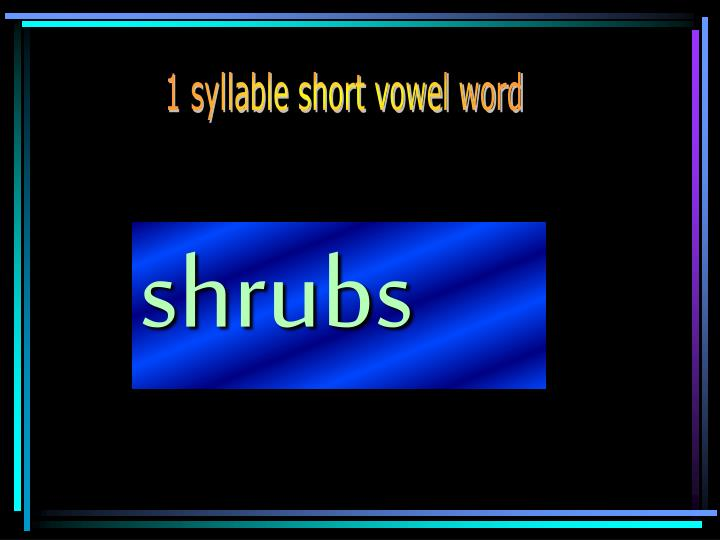 1 syllable short vowel word
