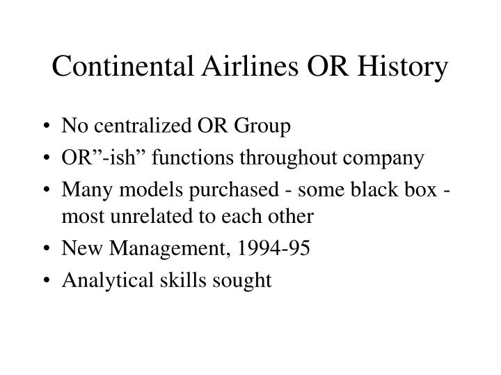 Continental airlines or history