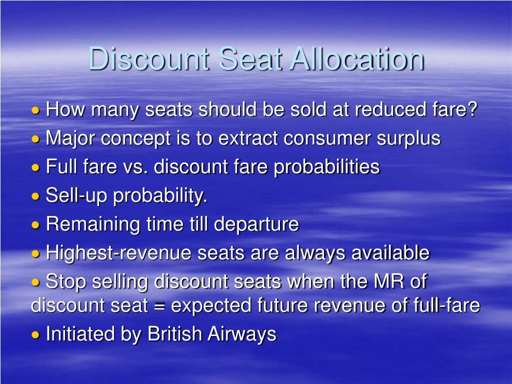 Discount Seat Allocation