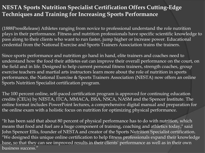 NESTA Sports Nutrition Specialist Certification Offers Cutting-Edge Techniques and Training for Incr...