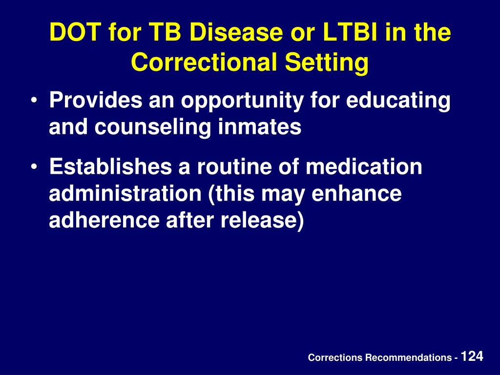 DOT for TB Disease or LTBI in the Correctional Setting