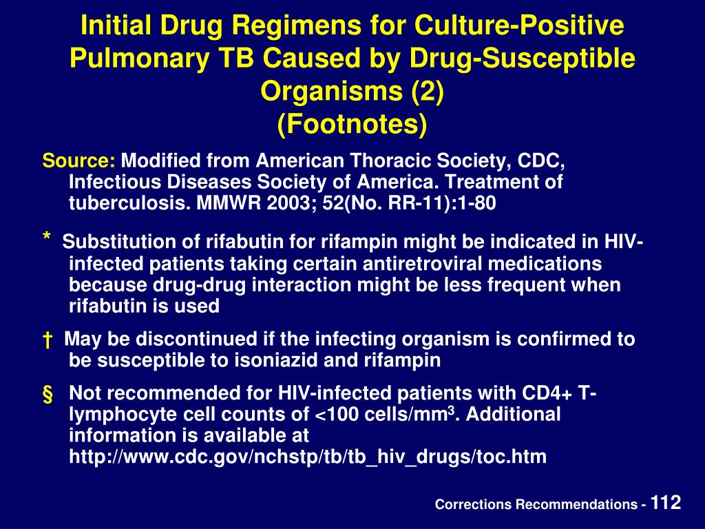 Initial Drug Regimens for Culture-Positive Pulmonary TB Caused by Drug-Susceptible Organisms (2)