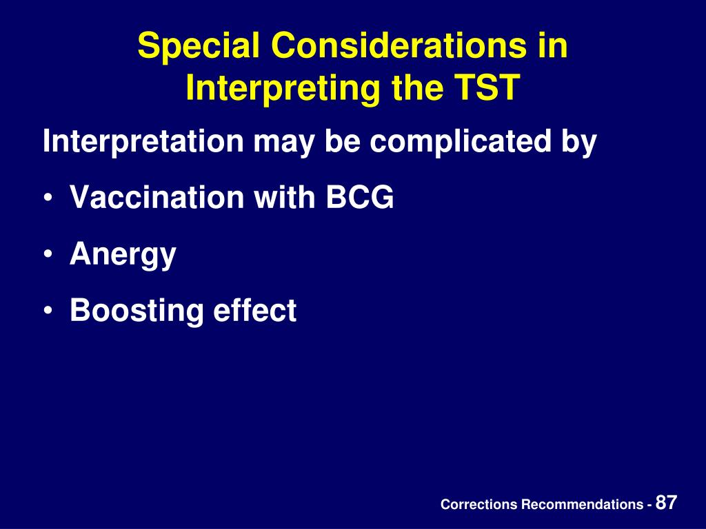 Special Considerations in Interpreting the TST