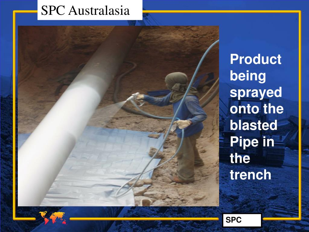 Product being sprayed  onto the blasted Pipe in the trench