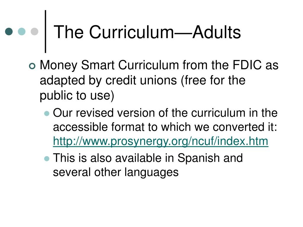 The Curriculum—Adults