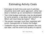 estimating activity costs