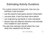 estimating activity durations1
