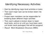 identifying necessary activities