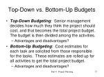 top down vs bottom up budgets