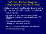 infection control program settings expecting to encounter tb patients