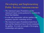 developing and implementing public service announcements13