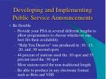 developing and implementing public service announcements14