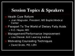 session topics speakers