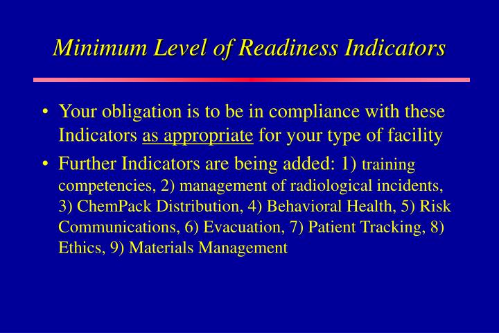 Minimum Level of Readiness Indicators