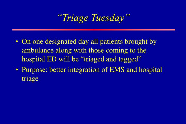 """Triage Tuesday"""