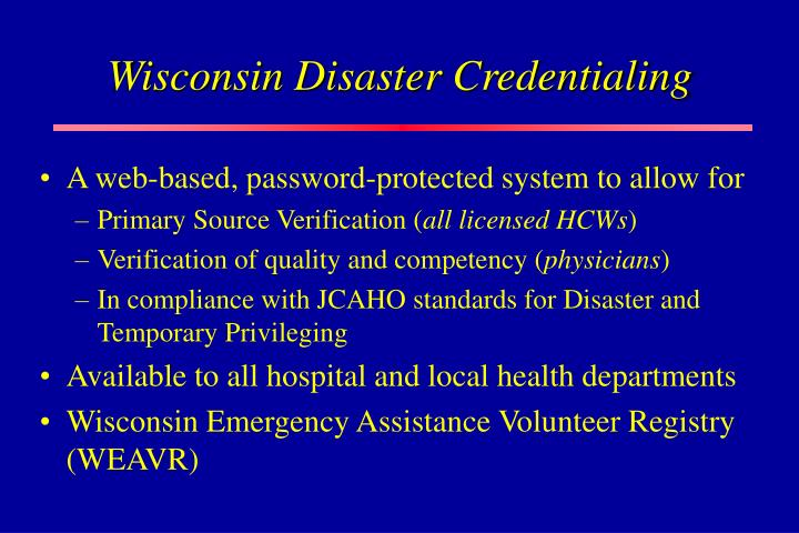 Wisconsin Disaster Credentialing