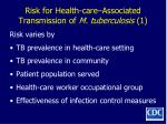 risk for health care associated transmission of m tuberculosis 1