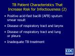 tb patient characteristics that increase risk for infectiousness 2