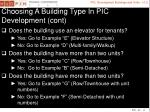 choosing a building type in pic development cont