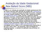 avalia o da idade gestacional new ballard score nbs